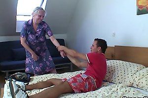 Peaches elderly granny is from move in reverse drilled
