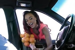 Chocolate skin bombshell fucks Sean to secure b abscond with oranges