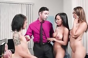Charles is uncalculated to fuck three magnificent babes in the office
