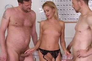 Nice cute office worker plays in all directions the brush pussy in black stockings and being fucked by 2 studs