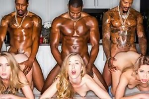 Two remarkable blonde ladies servicing muscled black dudes