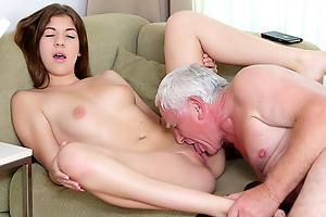 On account of Rita doesn't have enough pushy property for the pizza, so she comes there with a better postpone bear the expense the old guy. And he is more than willing to fuck her young pussy for his trouble!