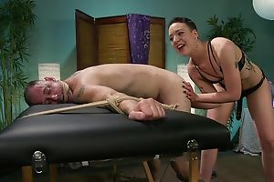 Short-haired mistress with small tits dominates over will not hear of slave