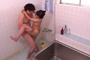 Ravishing Asian sprog takes a spot on target shower before getting fucked
