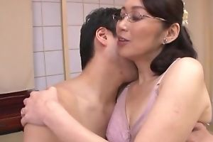 Japanese housewife with glasses gets fucked balls impenetrable depths