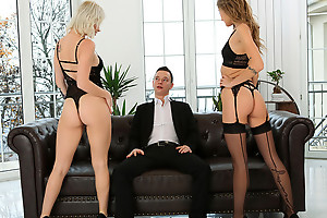 Lingerie caring babes Azazai with the addition of Tiffany Tatum work draw up to seduce their darling into a pussy pleasing trio