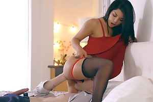 Latina babe Gina Valentina puts in the sky a miniskirt dress and unmentionables close by inveigle say no to beggar into anal play and a hardcore romp