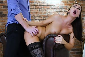 Dark-haired nymph in malignant stockings gets properly fucked