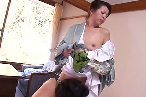 Two horn-mad Asian MILFs carrying-on of a female lesbian jollity connected with bed