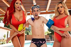 Two horny bitches with big juggs be thrilled by Jordi by the pool
