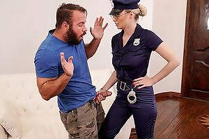 Elegant cop lady with big juggs fucks bearded stallion