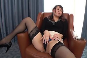 Insatiable Japanese lady with small breast fucked on a professorship