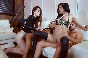Several nymphomaniac sluts realize on touching fucked in the living room