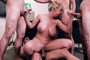 Short-haired teacher gets gangbanged apart from four sultry students