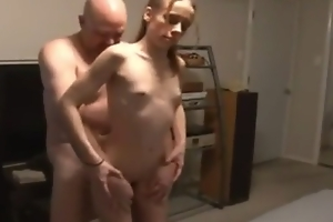 Masturbation old stepfather made a horrible sin with his young stepdaughter with small tits
