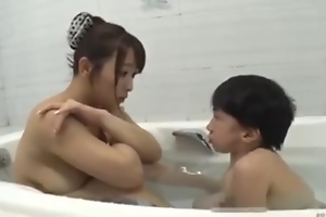 Asian well-endowed mom with midget mini man bathroom hot screwing