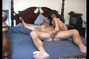 Mistress teases naked, tied up sissy boy'_s cock