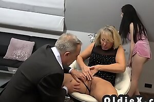 Beautiful young maid fucks rich senior reinforcer almost threesome
