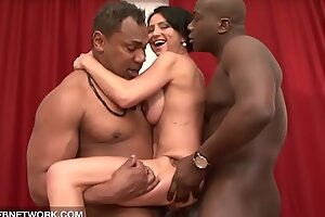 Interracial hardcore mature babe fucked by two hyacinthine cocks doublepenetrated anal
