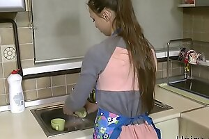 young wife with kitchen