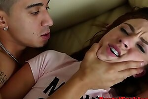 Diminutive teen roughfucked and facialized