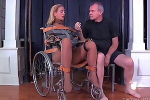 Blonde milf cherie deville scheduled gagged fro a straitjacket coupled with wheelchair therapy