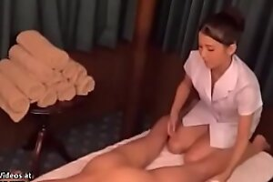 Japanese masseuse nearby unvaried sates the brush client