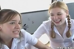 Teeny titted schoolgirl gives dishevelled blowjob and rails learn of