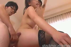 Three Guys Get A Japanese Girl Blow Job Detach from Sexy Hot Babe