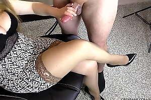 Amateur Teen Step Sis Hadnjob increased by Cumshot on her Stockings