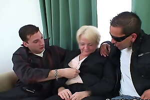 Boozed blonde granny white-haired close to and double fucked