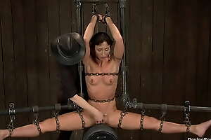 Chained in device slut riding Sybian