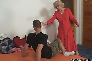 Wife finds him fucking her age-old mom
