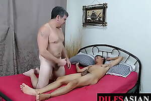 Asian twink tickled forwards bareback coitus