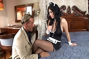 Mademoiselle fucking back the brush uniform increased by fishnet stockings