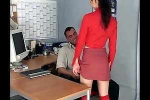 Elfin secretary fucking wide knee high stockings