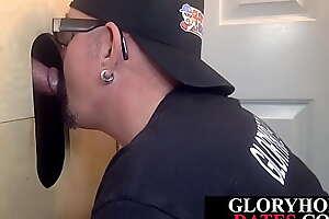 Gloryhole suitor eagerly deepthroats dick