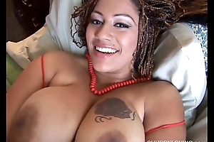 Chubby black cosset with broad in the beam tits
