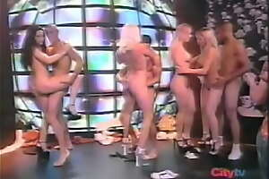 Dispirited Group Striptease on Spanish Television