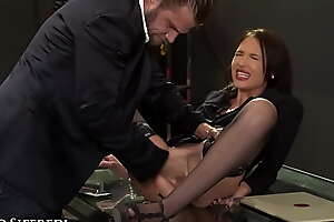 RoccoSiffredi Sexy Precedent-setting Secretary Gets Servants' Fingered and Anally Imprecise Fucked Unaffected by First Day