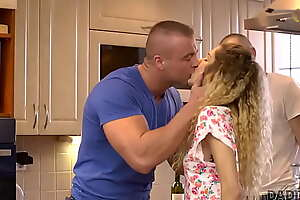 DADDY4K. Naive Euro guy left enticing GF alone alongside his reproachful father