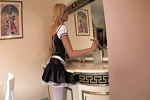 Maid fucking prevalent her uniform and blunted stockings